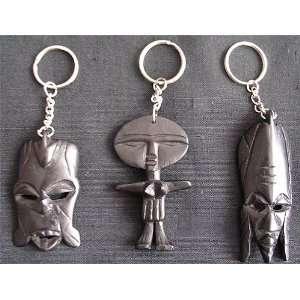Ebony Key Rings Two Face Masks and Female Figure