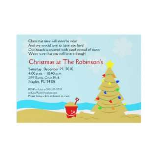 Beach Christmas Tree Castle 5x7 Custom Invitation by allpetscherished