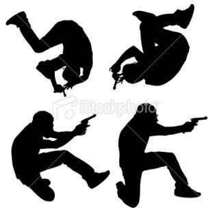Action man somersault roll with a gun Royalty Free Stock Vector Art