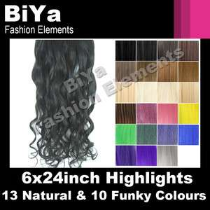 6X24 CLIP IN HAIR EXTENSIONS CURLY/STRAIGHT HIGHLIGHTS