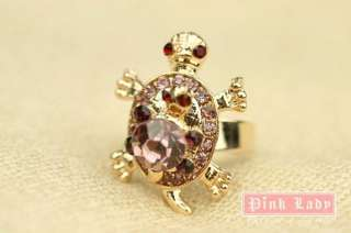 Q97 Violet Crystal Turtle Gold Tone Ring