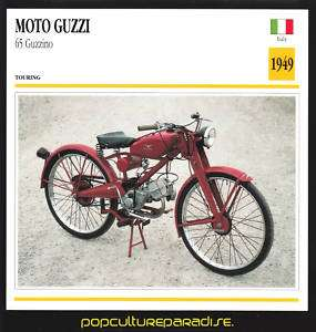 1949 MOTO GUZZI 65 GUZZINO MOTORCYCLE Picture SPEC CARD
