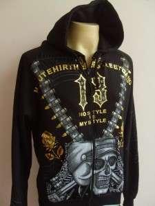 Minute Mirth Skull Bandit Tattoo Hood Jacket Black L