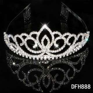 Bridal Wedding Princess Pageant Prom crystal tiara crown headband 0888