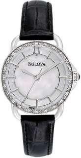 Bulova 96R147 Ladies Watch Quartz Mother of Pearl Dial Diamonds Bezel