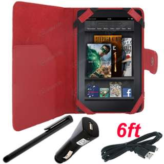 for Kindle Fire   Folio Carry Case Cover / Stylus / USB Cable Cord