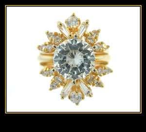 14K Solid Yellow Gold CZ Wedding Engagement Ring Set