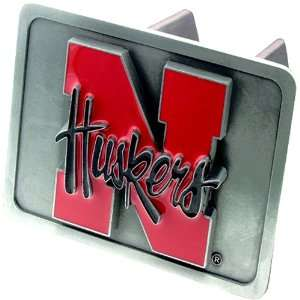 Nebraska Cornhuskers NCAA Pewter Trailer Hitch Cover by
