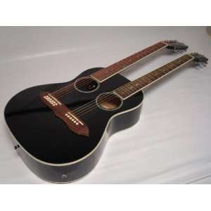 Acoustic Electric Double Neck Guitar, Two Hole, Black