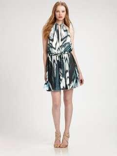 Just Cavalli   Flared Zebra Print Halter Dress