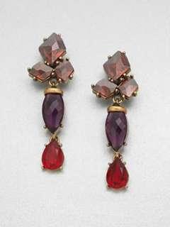 Oscar de la Renta   Swarovski Crystal Cluster Drop Clip On Earrings