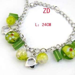 A0224 Green Charm glass Crystal beads Flower Bracelet