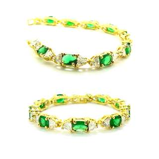 JEWELRY GREEN EMERALD YELLOW GOLD PLATED GP BRACELET HAND CHAIN