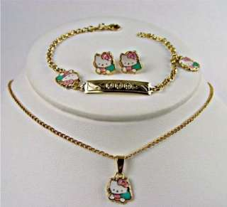 Set Earrings Gold 18k GF Hello Kitty Bracelet Girl Childs Kids Pink