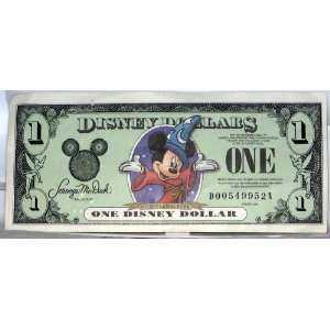 2001 DISNEY DOLLARS ONE DOLLAR $1 D SERIAL   ERROR BILL   MISALIGNED
