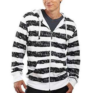 MENS~ Black & White Striped Hoodie Buddie with Headphones HB3 XXL 2XL