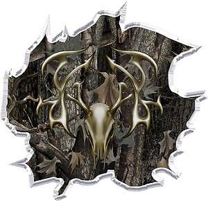 Oak camo tribal deer head hunting ripped vinyl graphic decal