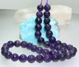 RARE NATURAL BRAZIL DEEP PURPLE AMETHYST HAND CARVED FLOWER BEADs