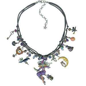 Folly Divine Diva Witch Corded Necklace Halloween Charms Crystals Bead
