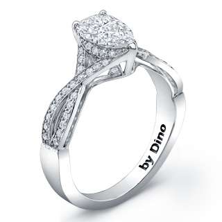 Pear Shape & Round Diamonds Cocktail Ring in Titanuim