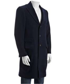Brunello Cucinelli navy wool/cashmere three quarter length topcoat