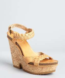 Frye natural leather braided strap Braylin cork wedge sandals