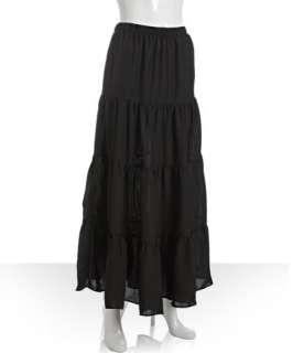 Wyatt black crepe tiered maxi skirt