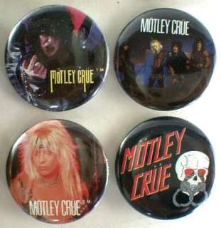 MOTLEY CRUE 1983 85 Pinback Buttons Pins Badges 4 Different