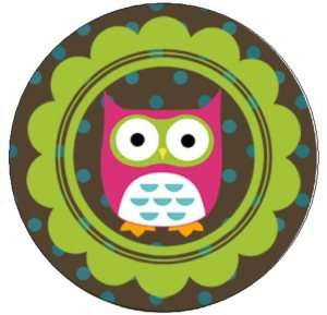 CUTE PINK OWL   1 Round Labels Seals / Stickers