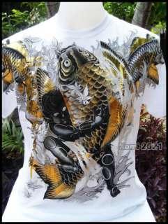 Dragon Fish VS Ghost Boy Skate Rock Tattoo Biker Punk Size L