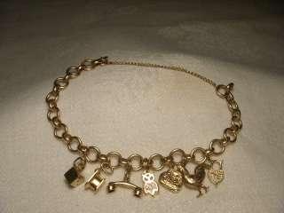 Antique Estate 14K Pink Rose Gold Mini Charm Bracelet