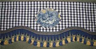 Custom French Country Window VALANCE Blue Plaid Gold Waverly Rooster
