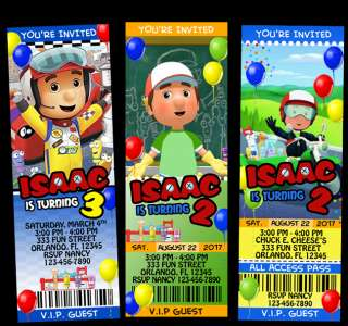 HANDY MANNY BIRTHDAY TICKET INVITATION CUSTOM PAT