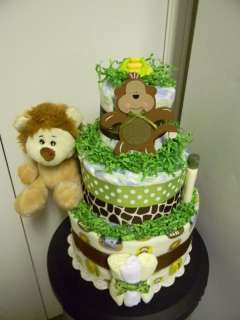 JUNGLE theme, Monkey & Lion 3 Tier Diaper Cake, baby shower