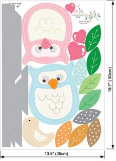 Owls on Tree Kids Room Wall Stickers Home decals Mural