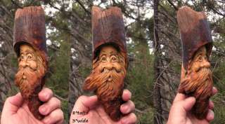 Wood tree spirit carving sculpture art forest face art knot head gnome