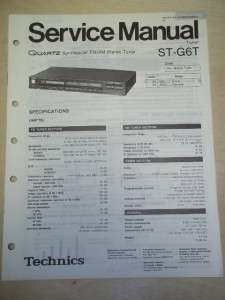 Technics Service/Repair Manual~ST G6T Stereo Tuner