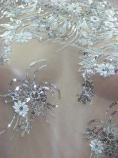 Discount White,Sequined Fabric for Bridal Dress Gowns Material per