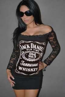 DIY Jack Daniels Top Mini Dress Tunic Whiskey Liquor Rocker Chick Club